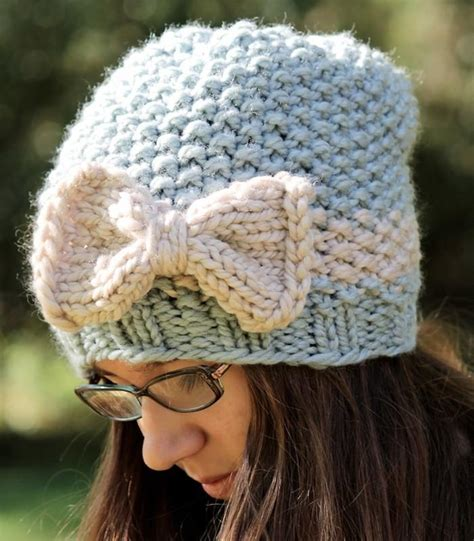 seed stitch knit hat pattern knitting pattern knit slouchy hat bow pattern