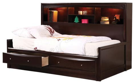 youth bedroom furniture sets cappuccino maple veneers phoenix full daybed w bookcase