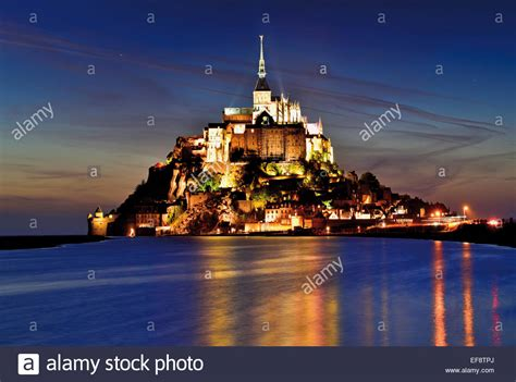 france normandy illuminated le mont saint michel by