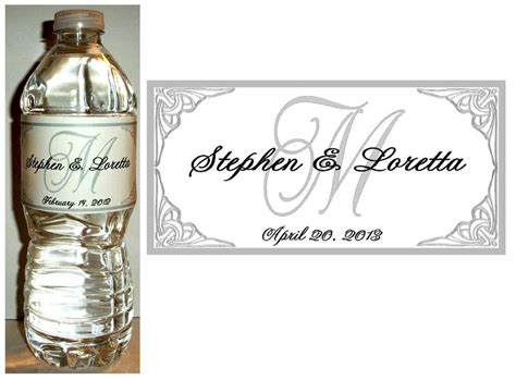 wedding water bottle labels 100 personalized silver monogram wedding water bottle