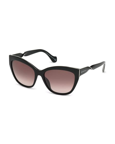 balenciaga twisted cat eye sunglasses in black lyst