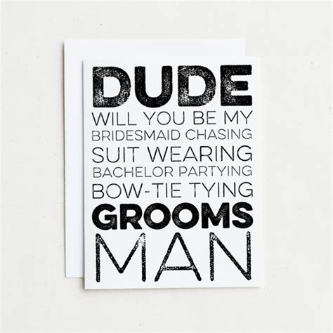 Dude Will You Be My Groomsman Card Little Shop Of Wow Will You Be My Best Template