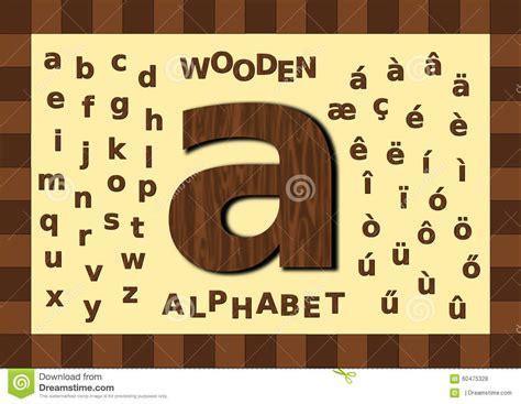 lettere in stato minuscolo lettera minuscola di legno di alfabeto illustrazione di