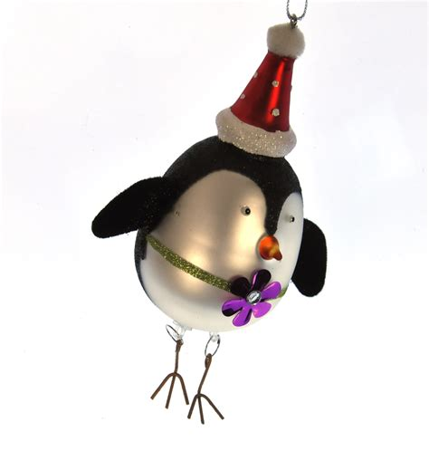 painted glass girl penguin christmas tree decoration 15cm