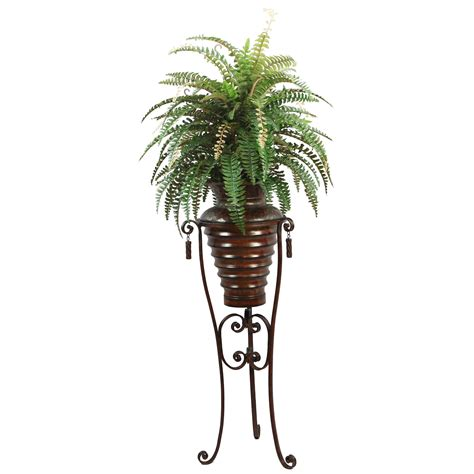 Vase For Bamboo Plant Laura Ashley 6 Foot Boston Fern Plant In Metal Planter