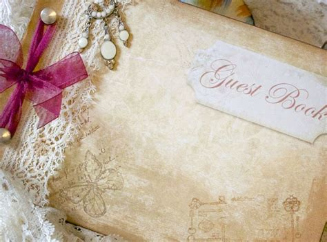 Handmade Wedding Guest Book - wedding guest book vintage shabby chic custom on luulla