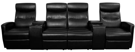 black leather 4 seat home theater console recliner from
