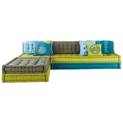 buntes sofa 6 seater cotton modular corner day bed in blue and green