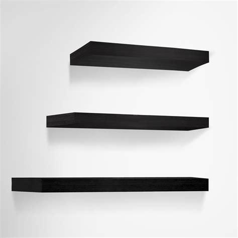 Black Bookshelf Black Floating Shelves by Buy Artiss 3 Floating Wall Shelves Black At