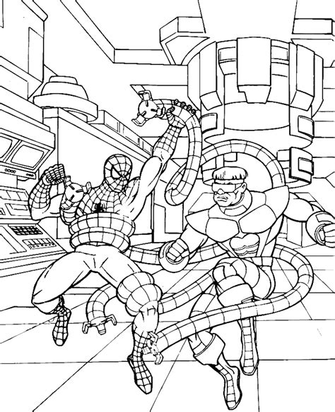 spiderman fighting in labolaturium coloring pages