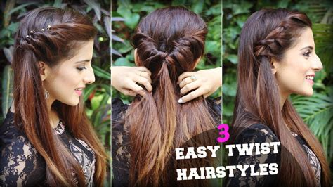 1 min cute easy everyday twist hairstyles for school college work quick hair tutorial youtube