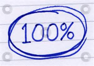 100 percent circled written in blue ink on white paper stock photo