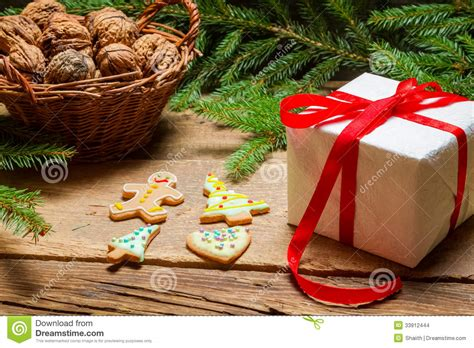 gift and gingerbread cookies for christmas stock images