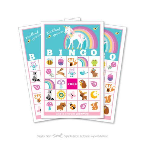 Printable Unicorn Bingo | woodland unicorn bingo game kid s printable bingo game