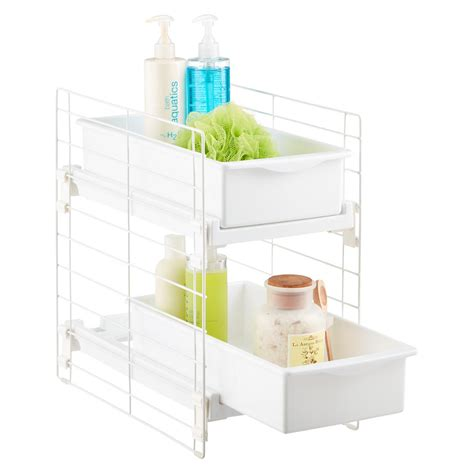 bathroom drawers organizers sliding 2 drawer organizer the container store