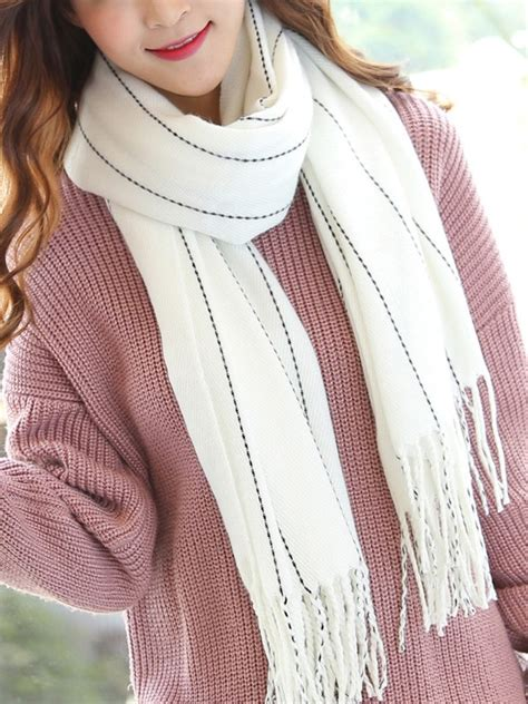 Rock Tassel Scarves Take The World by 4 Color Options Cozy Tassel Striped Scarf Cozyladywear