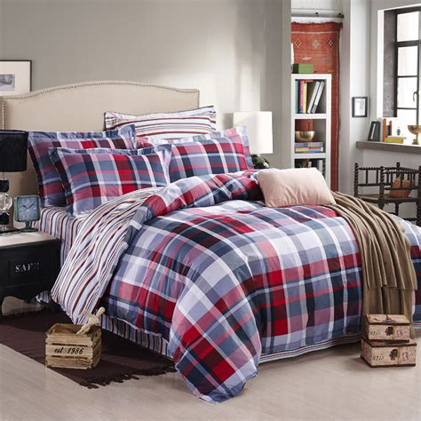 plaid comforter set modern blue red plaid duvet cover set 4 pcs 100 cotton