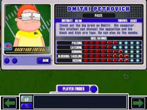 Backyard Baseball Dmitri Petrovich Dmitri Petrovich Theme Backyard Football 2002