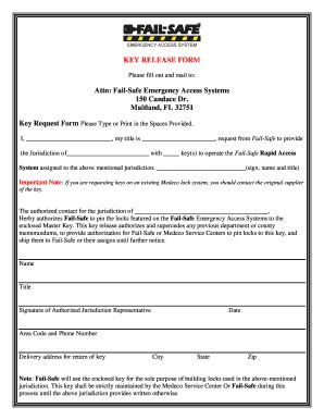 key form template key release form fill printable fillable blank
