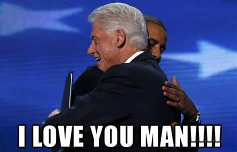 bill clinton obama meme bill clinton barack obama hugging at the dnc meme the