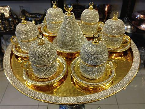 Handmade Copper Turkish Coffee Espresso Serving Set Swarovski Crystal Cup Tray   eBay