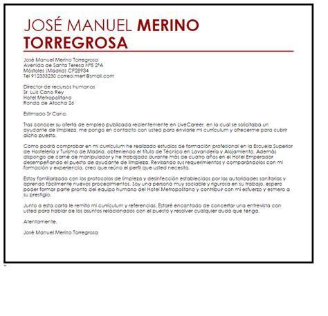 carta de presentacion trabajo hosteleria modelo de carta de presentaci 243 n ayudante de limpieza livecareer