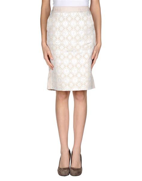 jucca knee length skirt in beige lyst