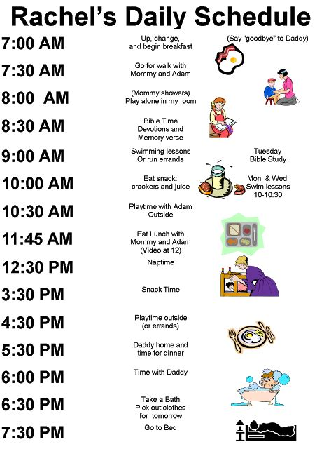 printable daily schedule for daycare exles kids daily schedules of course i would have to