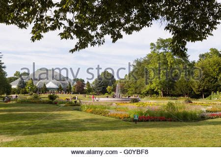Lincoln Park Botanical Garden Illinois Chicago Flowers Blooming In Lurie Garden Of