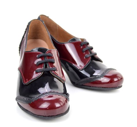shoes in style the sally in burgundy black retro vintage style