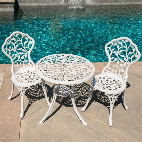 Vintage Bistro Table And Chairs Patio Table Chairs Set Ivory Iron Furniture Balcony Pool Bistro Antique Vintage Ebay