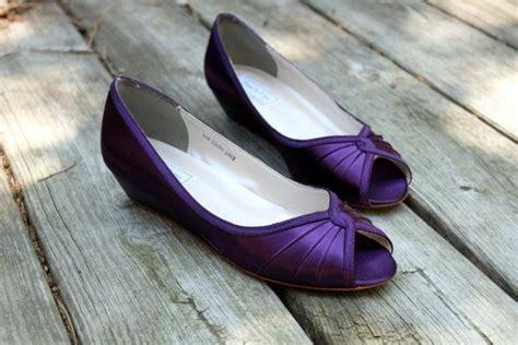 purple wedding shoes wedge low heel 1 inch by