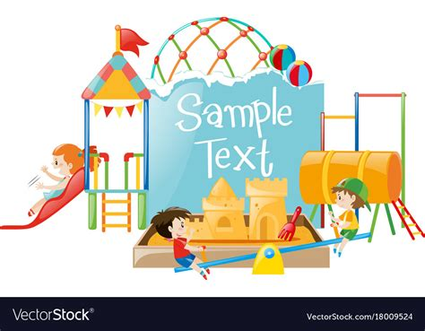 Paper Template With Kids At Playground Royalty Free Vector Playground Template