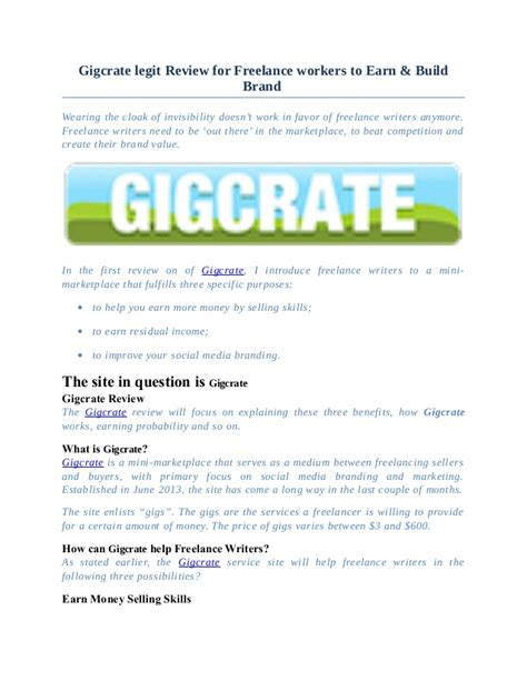 Make Money Online Freelance - gigcrate legit review for freelance workers to earn money online