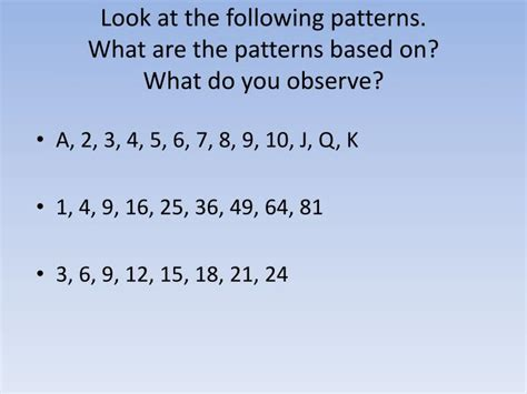 what pattern do you observe ppt look at the following patterns what are the