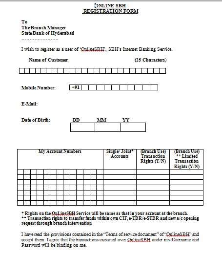 State Bank Application State Bank Of Hyderabad Banking Application Form