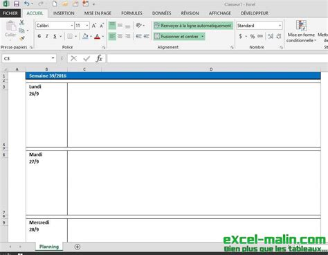 I Calendrier Semainier Semainier Planning Excel Modifiable Et Gratuit Excel