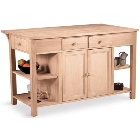 Kitchen Island Unfinished Free Shipping On International Concepts Kitchen Island Work Center W Counter Shelves