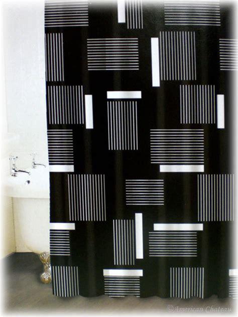 black  white shower curtain set decor ideas