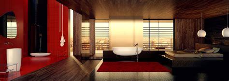 Danelon meroni red white and black oriental inspired bathroom panorama interior design ideas