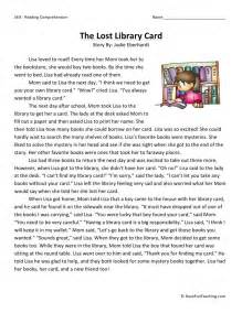 reading comprehension worksheet the lost library card