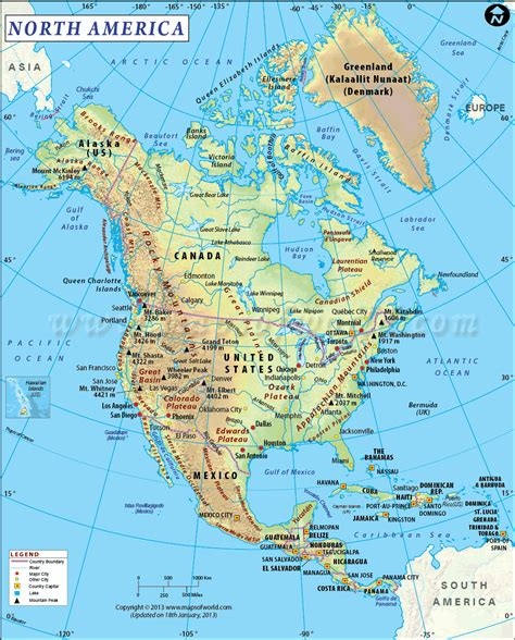 america map mountains and river map of northern america and canada