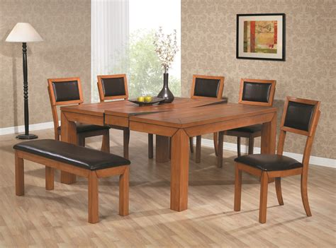 Dark Wood And Black Glass Dining Table Sneakergreet Com Dining Room Table And Benches