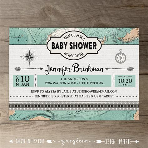 travel theme baby shower invitations vintage map diy