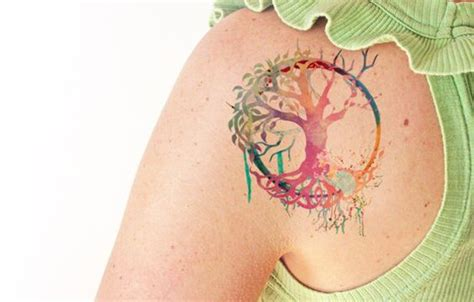 watercolor tattoo life tree of watercolor temporary trees tree