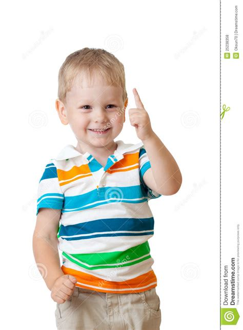 Cute Cheerful Kid Boy With Finger Up Stock Photo Image Picture Of Boy And Free