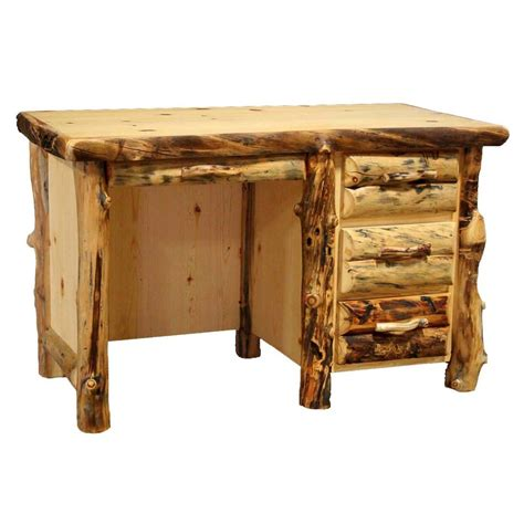 country woodworking rustic log student desk with 3 drawers western country