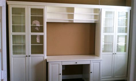 Ikea Wall Desk Unit by Ikea Liatorp Bookcases With Glass Doors Bridge And Desk