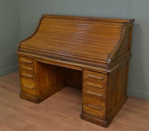 Large Antique Edwardian Oak Roll Top Tambour Front Desk Antique Roll Top Desk