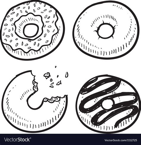 food doodle vector free doodle food donuts royalty free vector image vectorstock